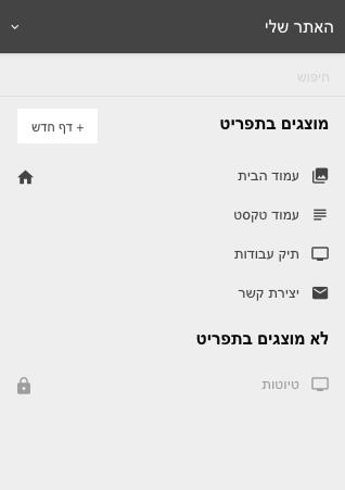 ניהול דפים באתר האינטרנט