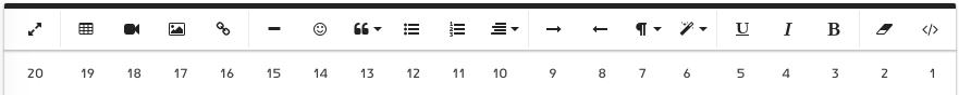 לחצני עורך התוכן עם מספרים